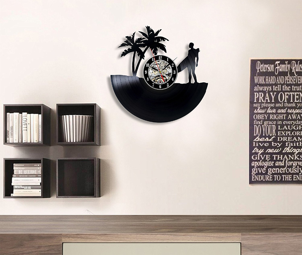Skiing Surfing Vinyl Record Wall Clock Decor Exciting Guest Room Perfect Gift Idea For Children S Men And Women In Clocks From Home