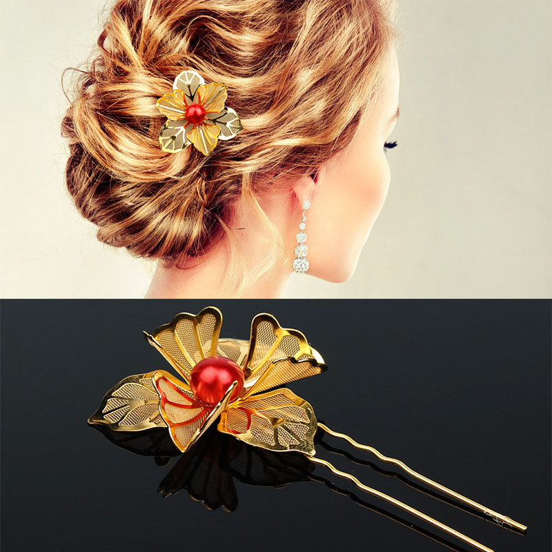 Graceful Free Shipping New Arrival 1PC Hot Sale Unique 2018 The Bride Wore A Wedding Gold Dress With A Butterfly Flower Hairpin