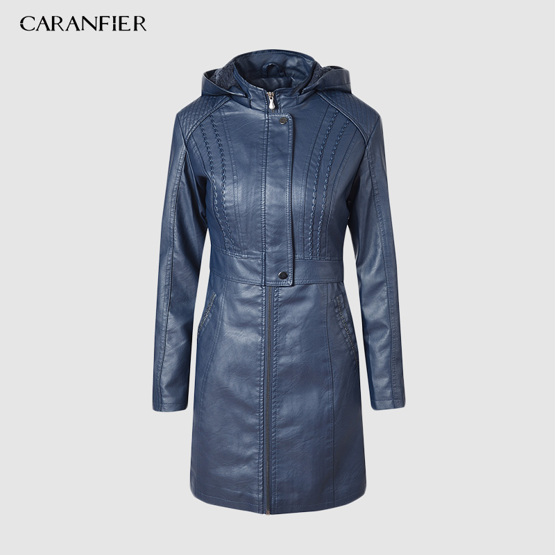 CARANFIER 2019 Winter Women PU Leather Jacket Waterproof Hooded Trench Zipper Thick Velvet Fur Lined Leather