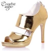 Creativesugar métallique or argent bleu en cuir verni miroir PU sandales à talons hauts large bande défilé de mode de partie chaussures couverture talon