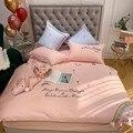 Роскошный комплект постельного белья из египетского хлопка с единорогом  атласное постельное белье  пододеяльник  простыня  комплект  розо...