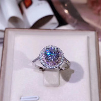 Real 925 Sterling Silver Wedding Rings For Women Round White Pink Cubic Zircon Engagement Fine Jewelry
