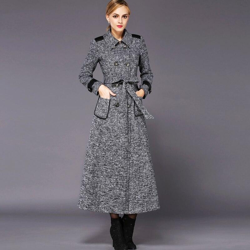 Online Shop 2015 double breasted grey wool coat women winter wool ...