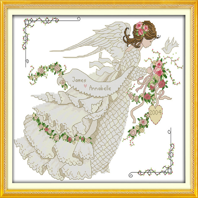 Flower Married YarnCounted Fairy Cross Stitch Roses Angel Wedding Magnificent Cross Stitch Wedding Patterns