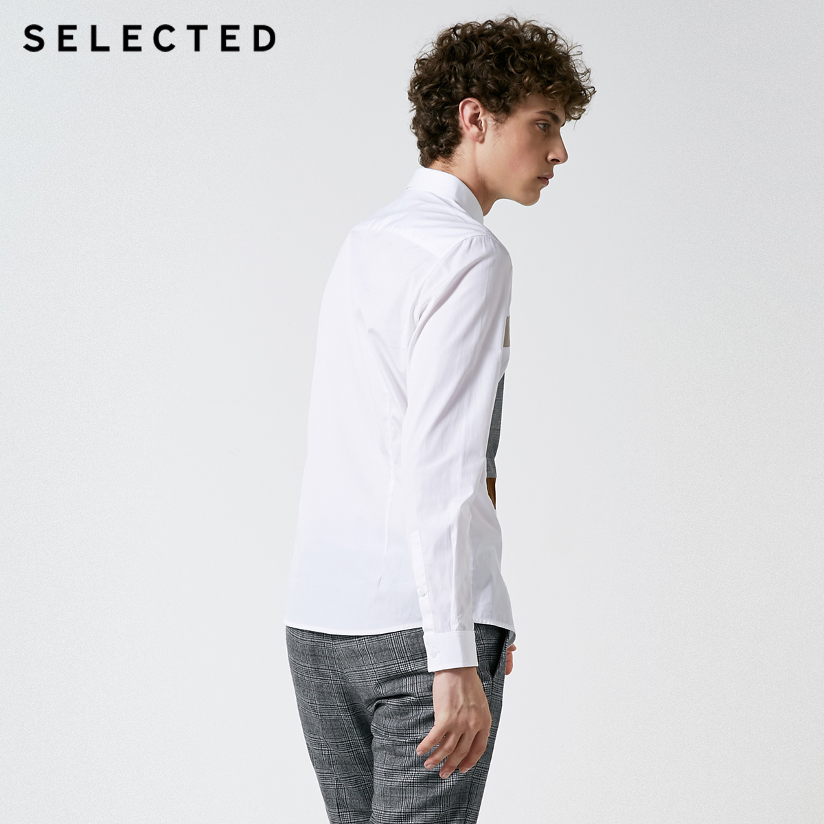 Image 3 - SELECTED New Mens Cotton Lattice Stitching Business Leisure Long Sleeve Shirt S  418405548Casual Shirts