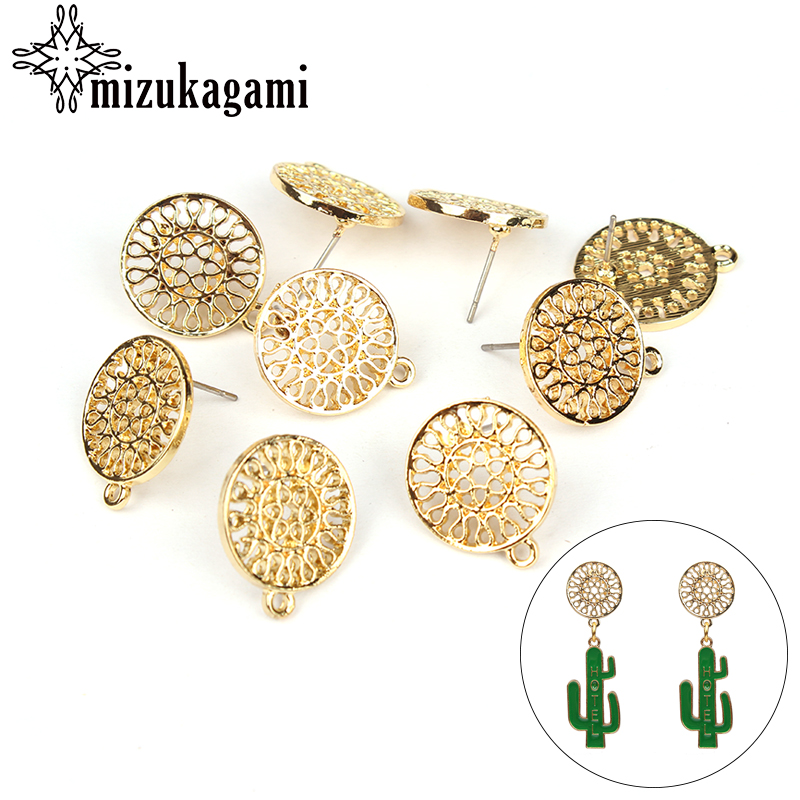 6pcs/lot Gold Zinc Alloy Fashion Round Flowers Base Earrings Pendant Connector For DIY Fashion Earrings Jewelry Accessories