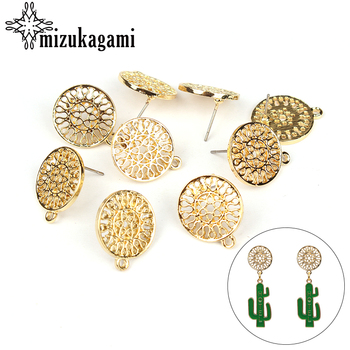 6pcs/lot Gold Zinc Alloy Fashion Round Flowers Base Earrings Pendant Connector For DIY Fashion Earrings Jewelry Accessories zinc alloy fashion golden round flowers base earrings connector charms 6pcs lot diy earrings jewelry making accessories