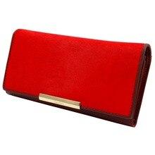 Freies verschiffen 100% Echtem Leder frauen brieftasche, Großhandel lange brieftaschen kartenhalter mode pferdenhaar leder geldbörse