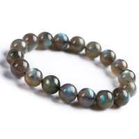 100% 11mm Natural Labradorite Gemstone Stretch Round Crystal Bead Bracelets For Women AAA For Women Drop Shipping