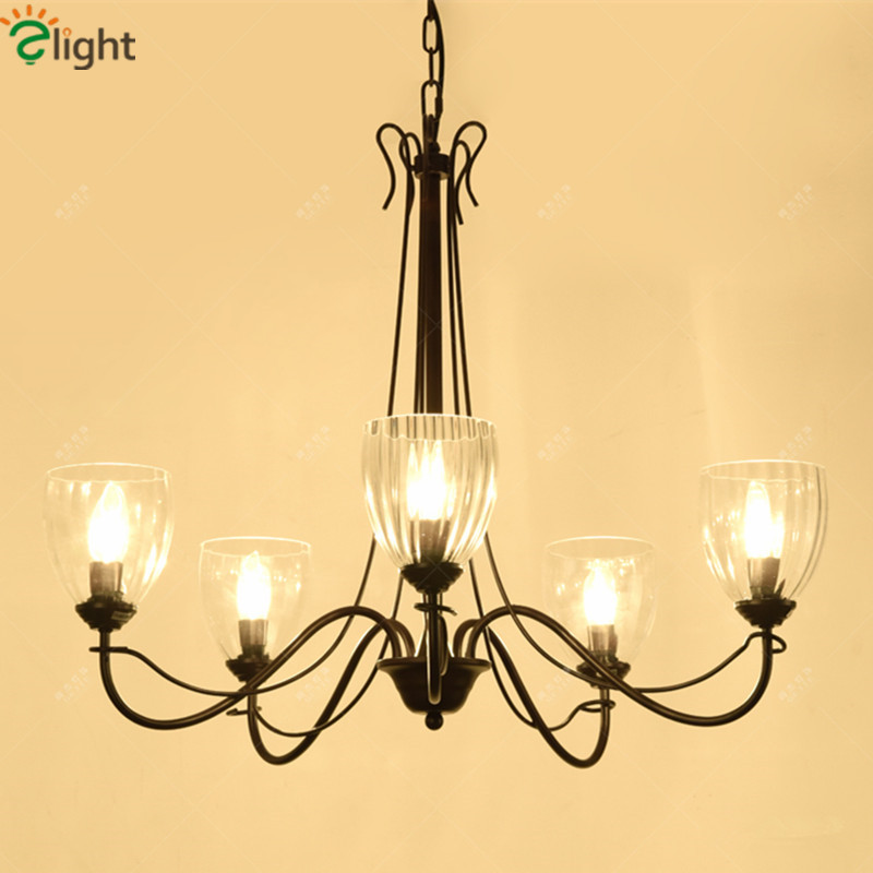 American Retro Iron Led Pendant Chandeliers Lustre Clear Glass Dining Room Led Chandelier Lighting Living Room Led Hanging Light modern lustre blue glass led chandeliers lighting copper living room led pendant chandelier lights dining room led hanging light