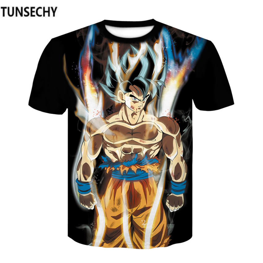 TUNSECHY Men 3D Dragon Ball Z Anime Round collar Short sleeve   T     Shirt   Vegeta Goku compression tight   T  -  shirts   Free transportation