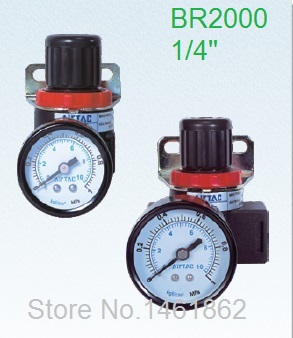 BR2000 1/4 Pneumatic Air Source Treatment Air Control Compressor Pressure Relief Regulating Regulator Valve with pressure gauge 1pc air compressor pressure regulator valve air control pressure gauge relief regulator 75x40x40mm