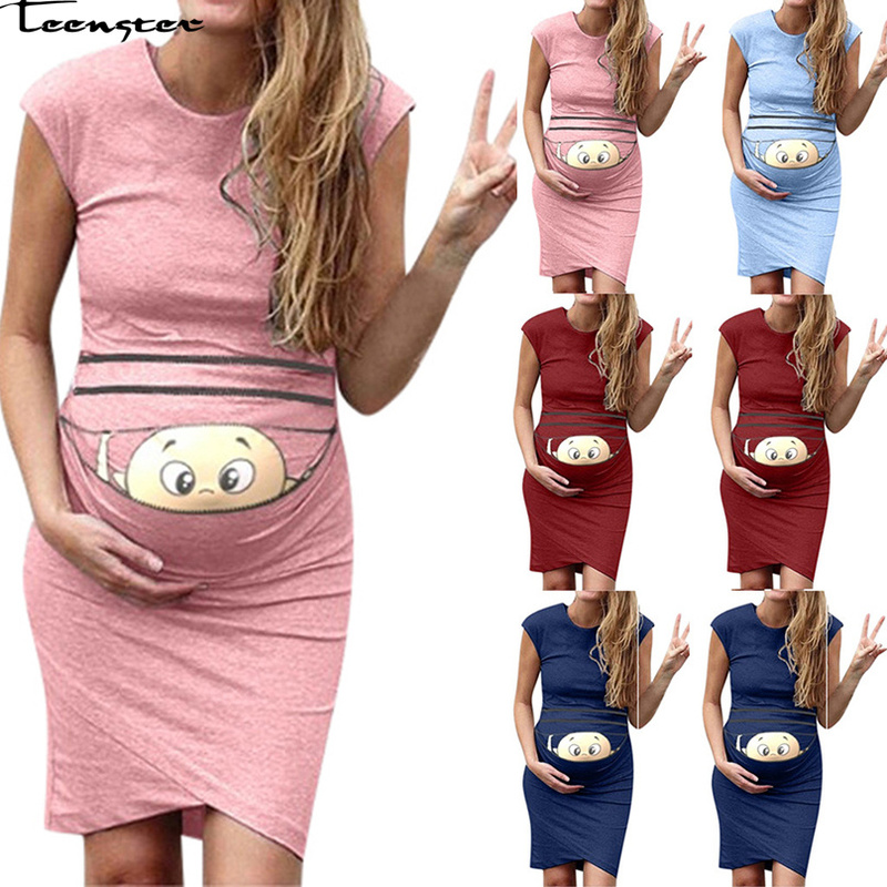 Teenster Sexy Clothes For Women Funny Cartoon Printed Summer Short Sleeve Dress Pregnant Plus Size Maternity Gowns Premama