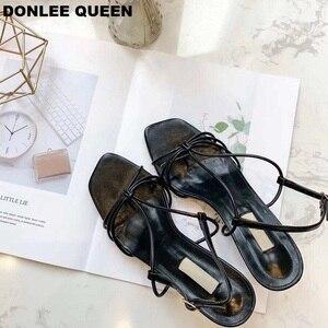 Image 5 - 新しい夏ブランドサンダルセクシーなハイヒールオープントゥグラディエーターサンダル女性狭帯域バックルストラップドレス靴 sandalias mujer 2019