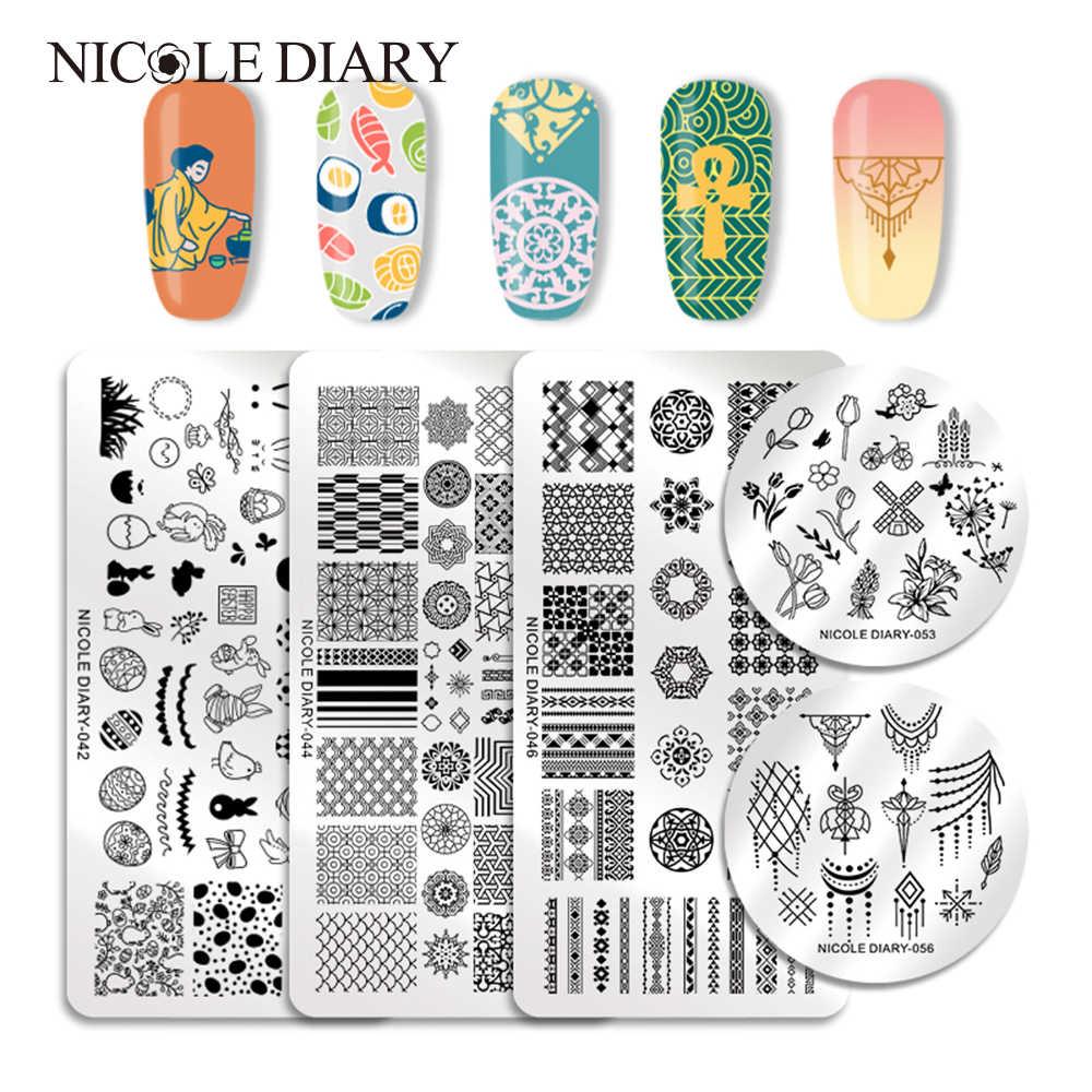 NICOLE DIARY Nail Stamping Plates Valentine's Animal Plant