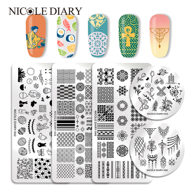 US $0 58 24% OFF|NICOLE DIARY Nail Stamping Plates Valentine's Animal Plant  Geometry Flower Nail Art Stamp Template Image Stamping Plate Stencil-in