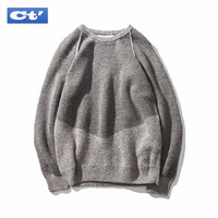 2018 Spring Contrast Color Fashion Sweaters Men Japanese Long Sleeve Round Neck Warm Knit Pullover Casual