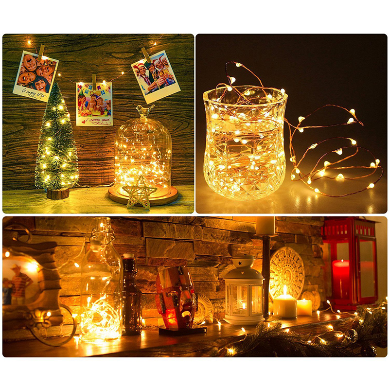 Feimefeiyou 50 100 LED Starry String battery Lights Fairy Micro LED Transparent Copper Wire for Party Christmas Wedding 5 colors 5