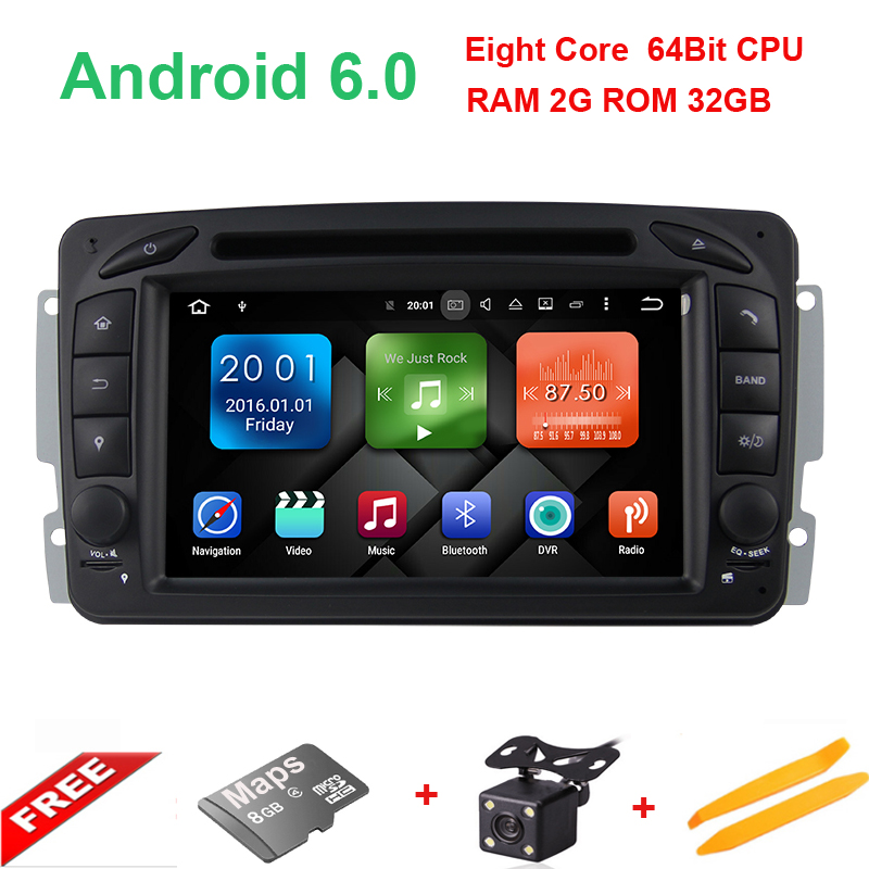 Android6.0/2G RAM/32G ROM/8Core/2Din For Mercedes/Benz/W209/203 Car DVD Player GPS Multimedia Bluetooth WiFi 3G TV Fast Boot SD