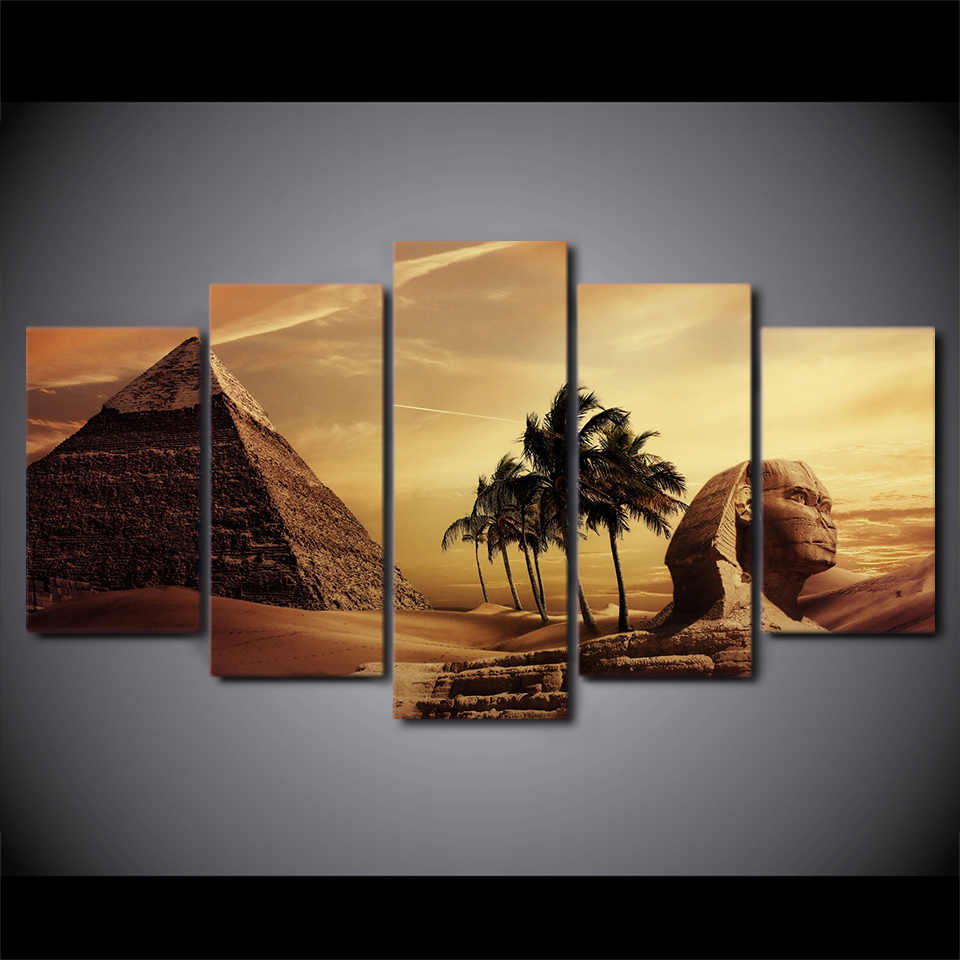 Wall Art Pictures Frame Home Decor Living Room Poster 5 Pieces Egyptian Pyramids Painting Canvas Sunset Desert HD Printed
