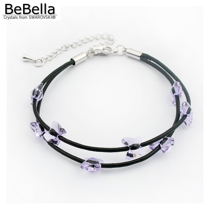 BeBella crystal butterfly bead black rope bracelet with Crystal from  Swarovski fashion jewelry for girl women birthday gift 2018-in Chain   Link  Bracelets ... a47d1eb8b