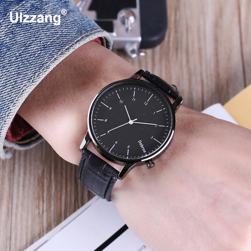 Simple Classic Black Brown Leather Quartz Wristwatches Wrist Watch for Men Male Women Lovers Students  classic ulzzang brand vintage genuine leather women men lovers quartz wrist watch gift black white brown