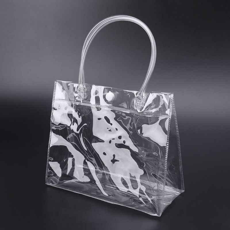 THINKTHENDO temizle Tote çanta PVC şeffaf çanta kolu ile düğün parti iyilik makyaj ambalaj çanta ile düğme