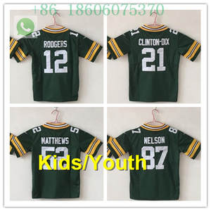 30a0f2726 Free shipping A+++ quality Kids 12 Aaron Rodgers Clay Matthews 52 Ha Ha  Clinton-Dix 21 Jordy Nelson 87 jersey