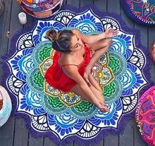 Zmart Lotus Floral Printed Round Beach Blanket Towel with Fringe Tassel Mandala Totem Tapestry Throw Yoga Mat Swimwear Cover Up