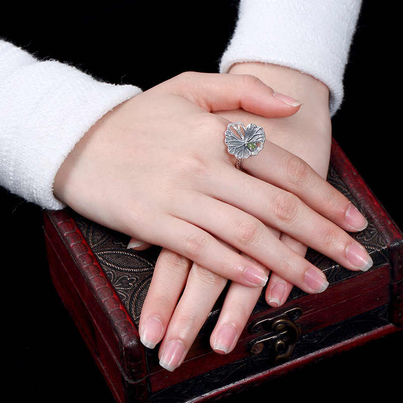 LouLeur 925 เงินสเตอร์ลิงใบหยกแหวน elegant บุคลิกภาพหยกแหวนผู้หญิง 2018 แฟชั่นเครื่องประดับ