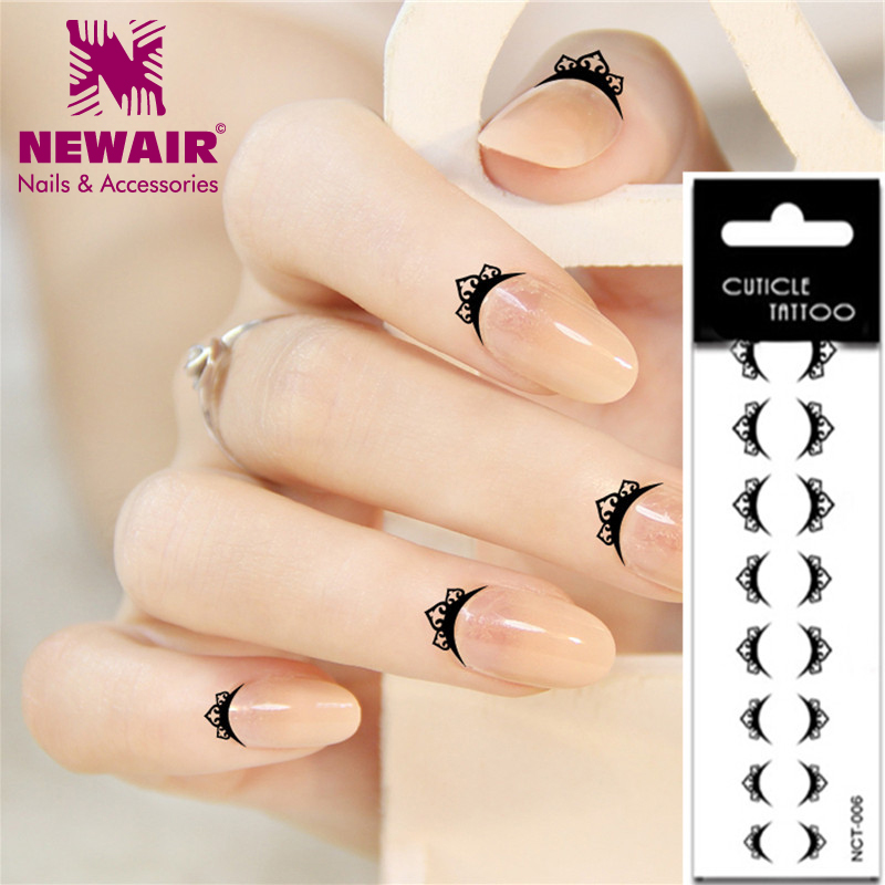 Hot Nail Finger Cuticle Tattoos Water Transfer Art Stickers Black Lace Waterproof Temporary Decoration In Decals From