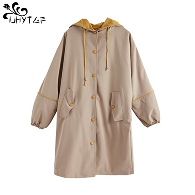 UHYTGF 2019 Women   Trench   Coat Loose Plus Size Wild   Trench   coat fashion Female College Style Casual Spring autumn   Trench   Coat 238