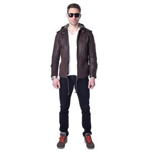 Image 2 - Veste en cuir véritable homme, marque en peau de vache, décontracté, Slim, avec capuche en vrai mouton, pour moto, printemps automne ZH141
