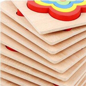 Image 5 - Forma placa de cognição quebra cabeça das crianças brinquedos de madeira crianças brinquedo educativo bebê montessori aprendizagem jogo tijolos brinquedos