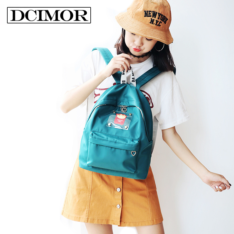 Dcimor Solid Color Canvas Backpack Lovely Potato Chips Embroidery Women Backpack Schoolgirl Mochila School Bag Leisure Backpacks