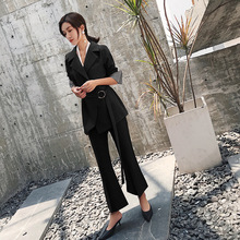 Women's suits flared pants suit two-piece female 2018 autumn and winter new Korean ladies OL fashion black wild loose clothes