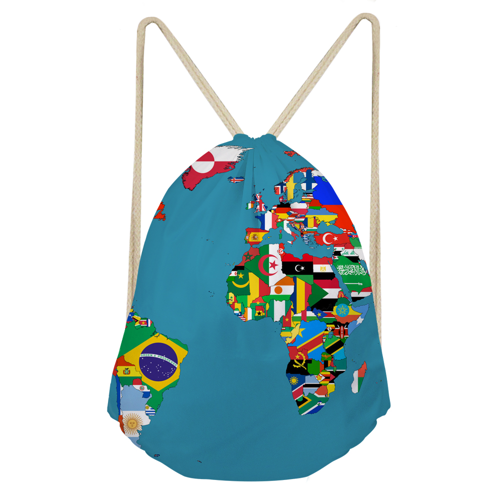 ThiKin 3D Maps Printed Drawstrings Bags Customized Women Men Casual Large Storage Backpacks Female Softback Students Bags