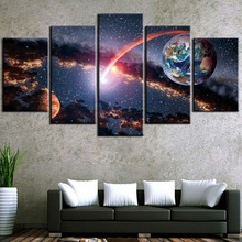 5 Panel HD Print Large Mars and Earth Universe Cuadros Decoracion Paintings on Canvas Wall Art for Home Decorations Wall Decor цена и фото
