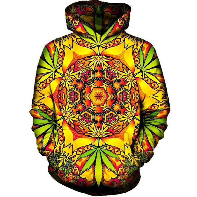 2018 Spring Autumn Pullover Hoody Tops All Over Printed Hoodie Hooded 4XL Psychedelic Weed 3D Hoodies Sweatshirts For Men Women