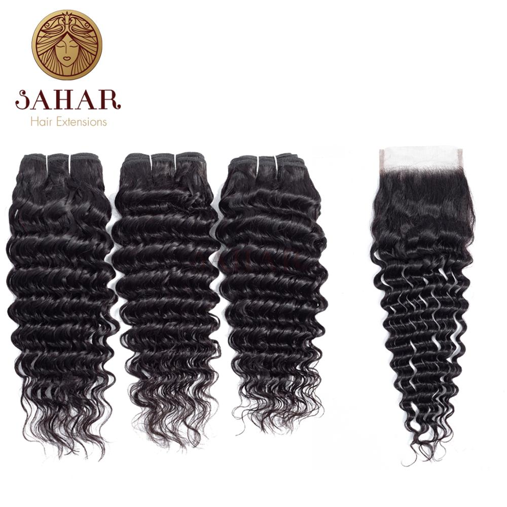 Sahar Brazilian Body Wave Bundles With Closure 3/4 Bundles Human Hair Bundles With Lace Closure Non Remy Hair Weave Bundles