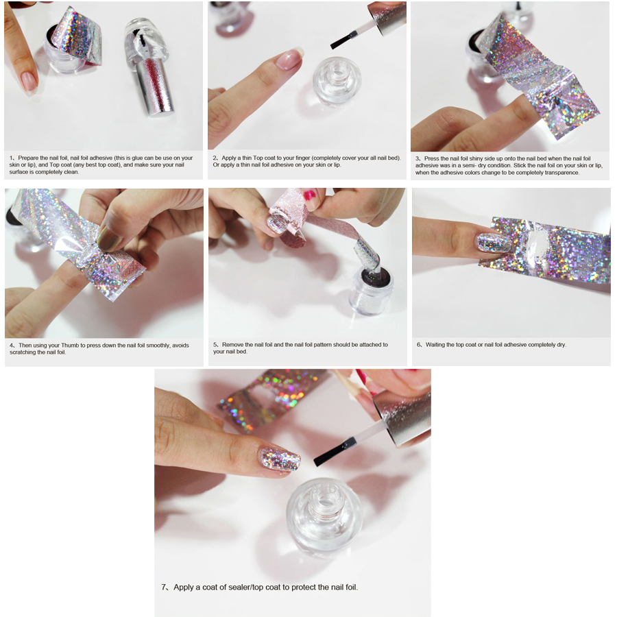 1Roll 120M*4CM Holographic Nail Art Transfer Foil Stickers ...