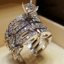 Classic four-claw hollow ladies engagement ring jewelry wedd