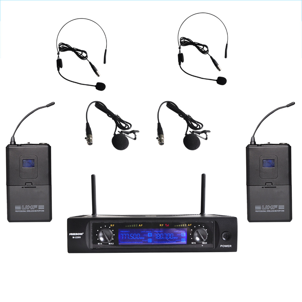 Freeboss M-2280 50M Distance 2 Channel Headset Mic System Karaoke Party Church UHF Wireless Microphones xtuga ew240 4 channel wireless microphones system uhf karaoke system cordless 4 handheld mic for stage church use for party