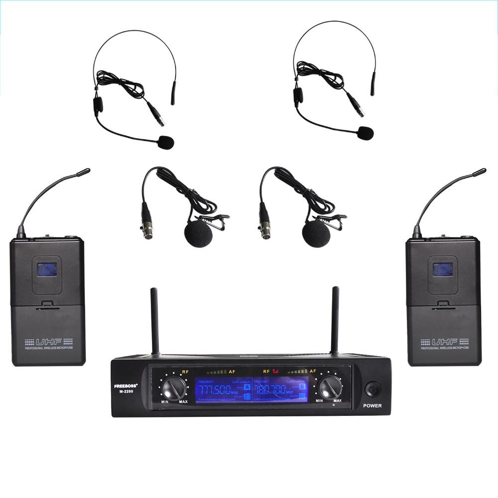 Freeboss M-2280  50M Distance 2 Channel Headset Mic System Karaoke Party Church UHF Wireless Microphones