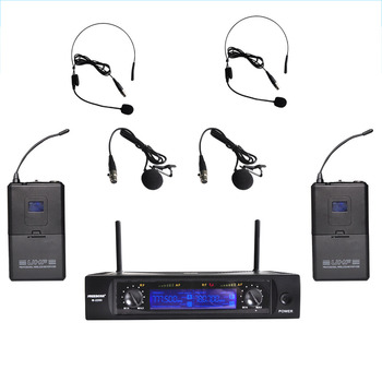Freeboss M-2280  50M Distance 2 Channel Headset Mic System Karaoke Party Church UHF Wireless Microphones