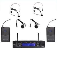 Freeboss M 2280 50M Distance 2 Channel Headset Mic System Karaoke Party Church UHF Wireless Microphones
