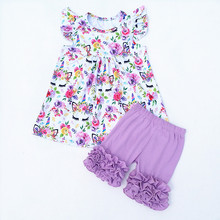d21f8692d 2018 hot selling unicorn printing milk silk top matching cotton icing ruffle  Lavende shorts children's boutique