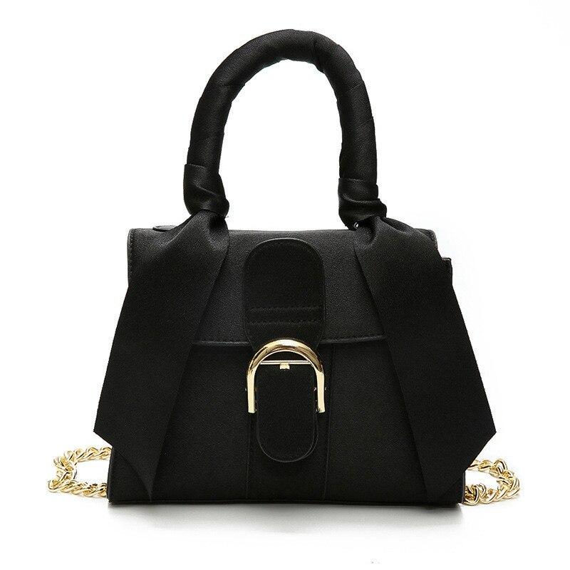 Autumn Women Tide Wild Retro Handbag Commuter Scarf Female Shoulder Bag Chain Messenger Bag PU Leather Tote Bag