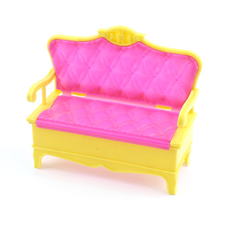 Children's toy 12x11x5cm sofa lifestyle Accessory for Barbie dolls Double-chair kids Pretend Play couch toy Free shipping