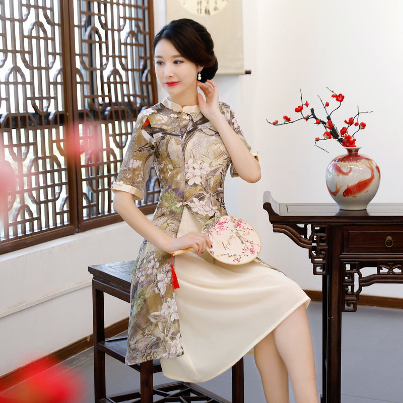 New Rayon Traditional Chinese Women Simple Dress Vintage Lady Floral Vietnam Aodai Qipao Summer Sexy Short